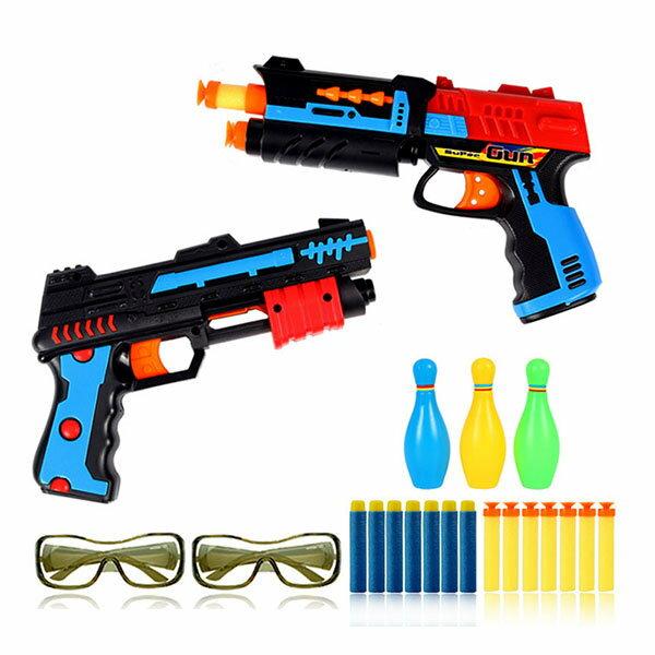 【888便利購】雙雄爭霸2入安全軟彈槍(附護目鏡)(親子互動雙人對戰)