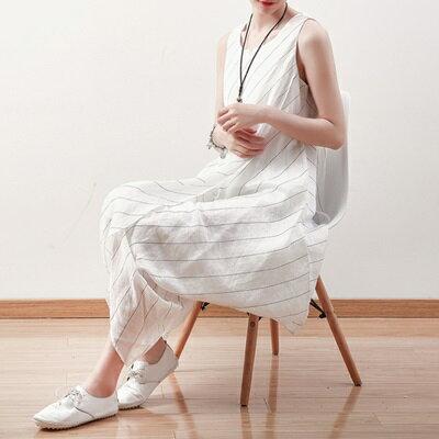 連身長裙寬版連衣裙-時尚條紋不規則下擺無袖女上衣73sm60【獨家進口】【米蘭精品】