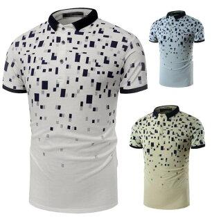 FINDSENSEZ1日系流行男時尚大碼立領小方塊迷彩短袖T恤短袖POLO衫特色短T