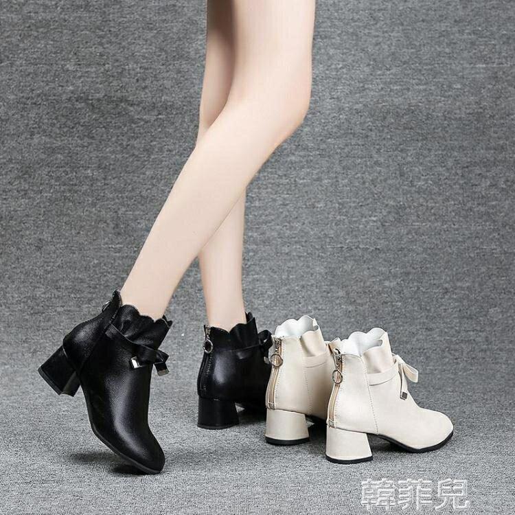 短靴 小香風時尚中跟小個子短靴女新款粗跟拉錬學生少女蝴蝶結顯瘦