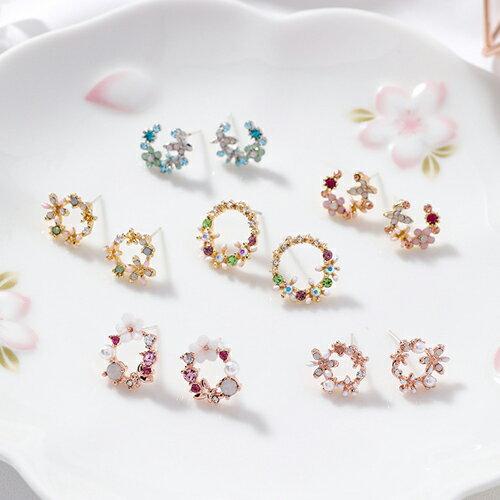 PS Mall 925銀針 甜美彩色花環圈圈氣質清新彩鑽花瓣耳環 【G095】 2