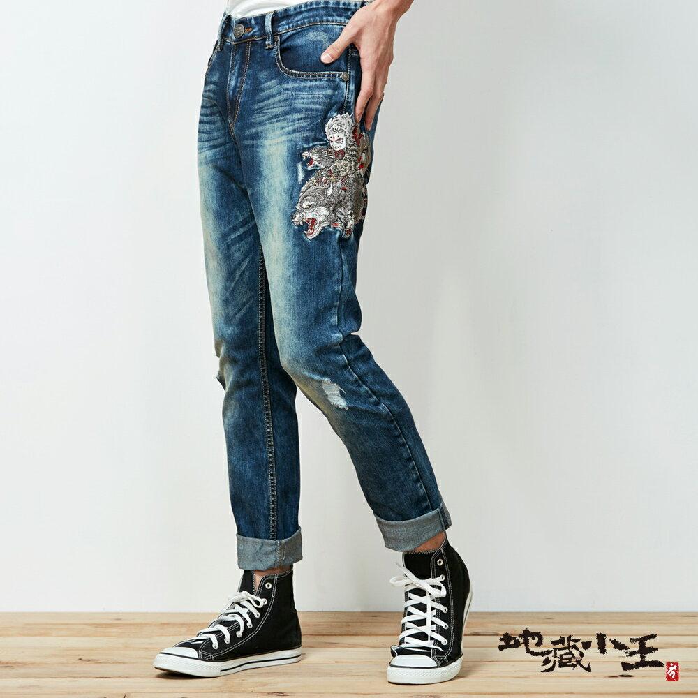 【春夏新品】地藏狼里見精繡低腰直筒褲 - BLUE WAY 地藏小王 2
