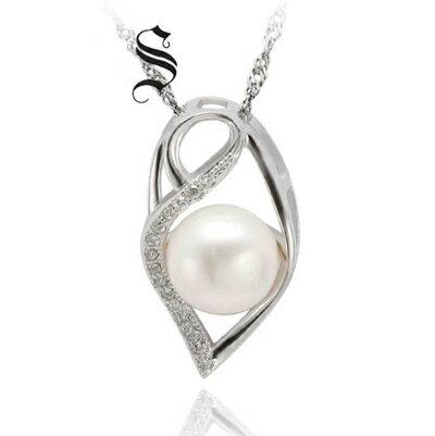 ~925純銀項鍊 珍珠吊墜~ 優雅鑲鑽精緻七夕情人節 女飾品73dh13~ ~~米蘭 ~