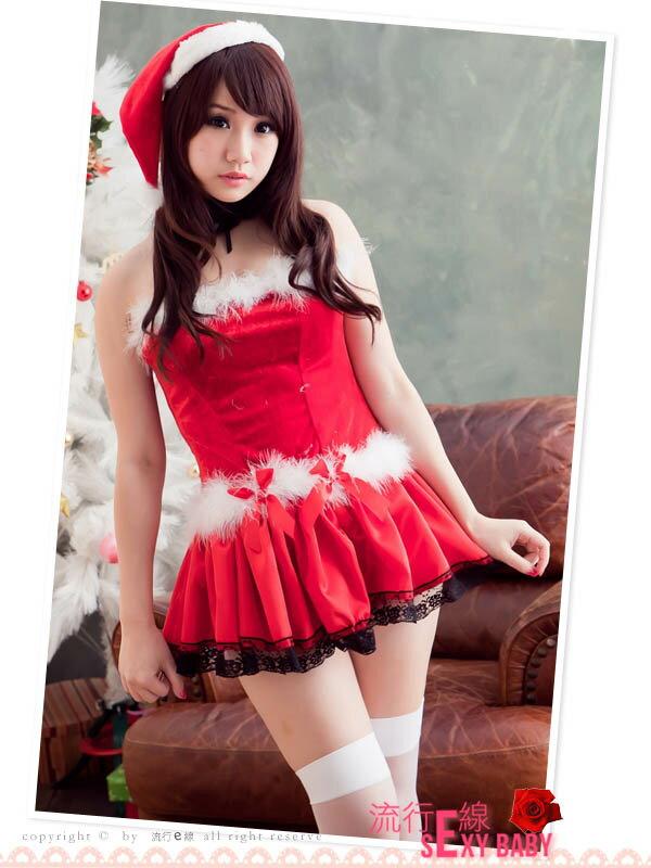 露肩澎澎洋裝聖誕服~聖誕節跨年尾牙角色扮演制服派對xmas聖誕裝含聖誕帽~流行E線F019
