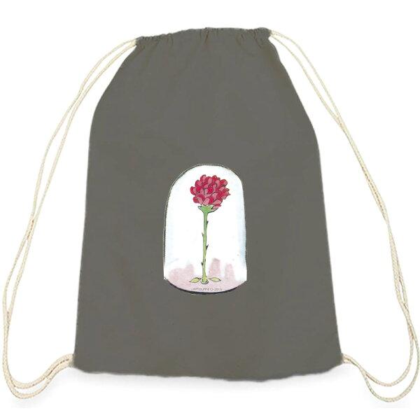 【小王子經典版】彩色束口後背包-玻璃罩裡的玫瑰花(鐵灰)