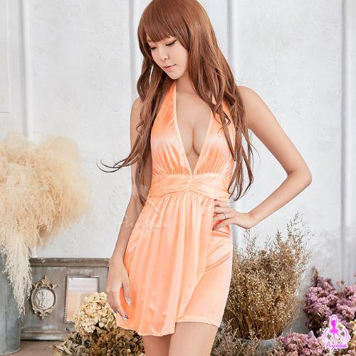 性感睡衣情趣睡衣星光密碼【i013】耀眼粉橘深V綁脖美背柔緞情趣性感睡衣