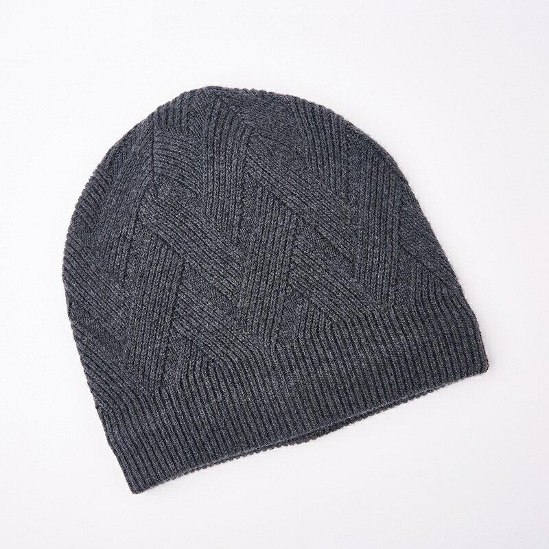 毛帽羊毛針織帽-純色菱形花紋包頭男帽子4色73wj46【獨家進口】【米蘭精品】 2
