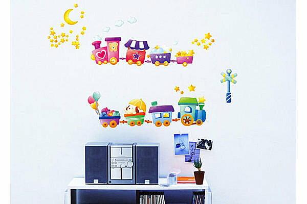 BO雜貨:BO雜貨【YP1541】可移動壁貼牆貼背景貼兒童房設計佈置布置兒童璧貼小火車_
