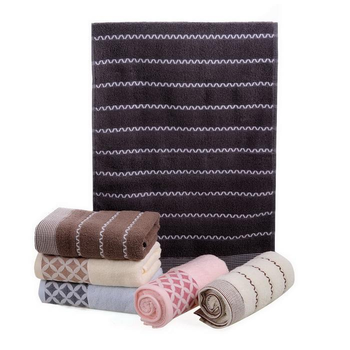 6PCS Cotton Bath Towel Face Shower Towels Set Striped 4