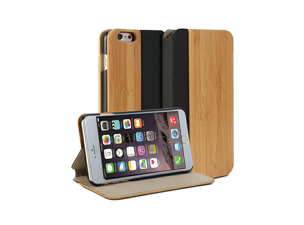 【美國代購】GMYLE iPhone 6 Plus 竹子PU混皮超薄保護套  Wallet Case Wooden / Light Bamboo PU Leather Slim Stand Case Cover -竹子色