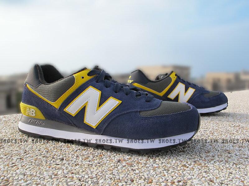 《超值6折》Shoestw【ML574AAA】NEW BALANCE NB574 復古慢跑鞋 男生 海軍藍 黃 麂皮 情侶