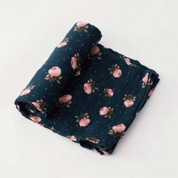 美國【LittleUnicorn】純棉紗布巾單入組包巾-璀璨玫瑰