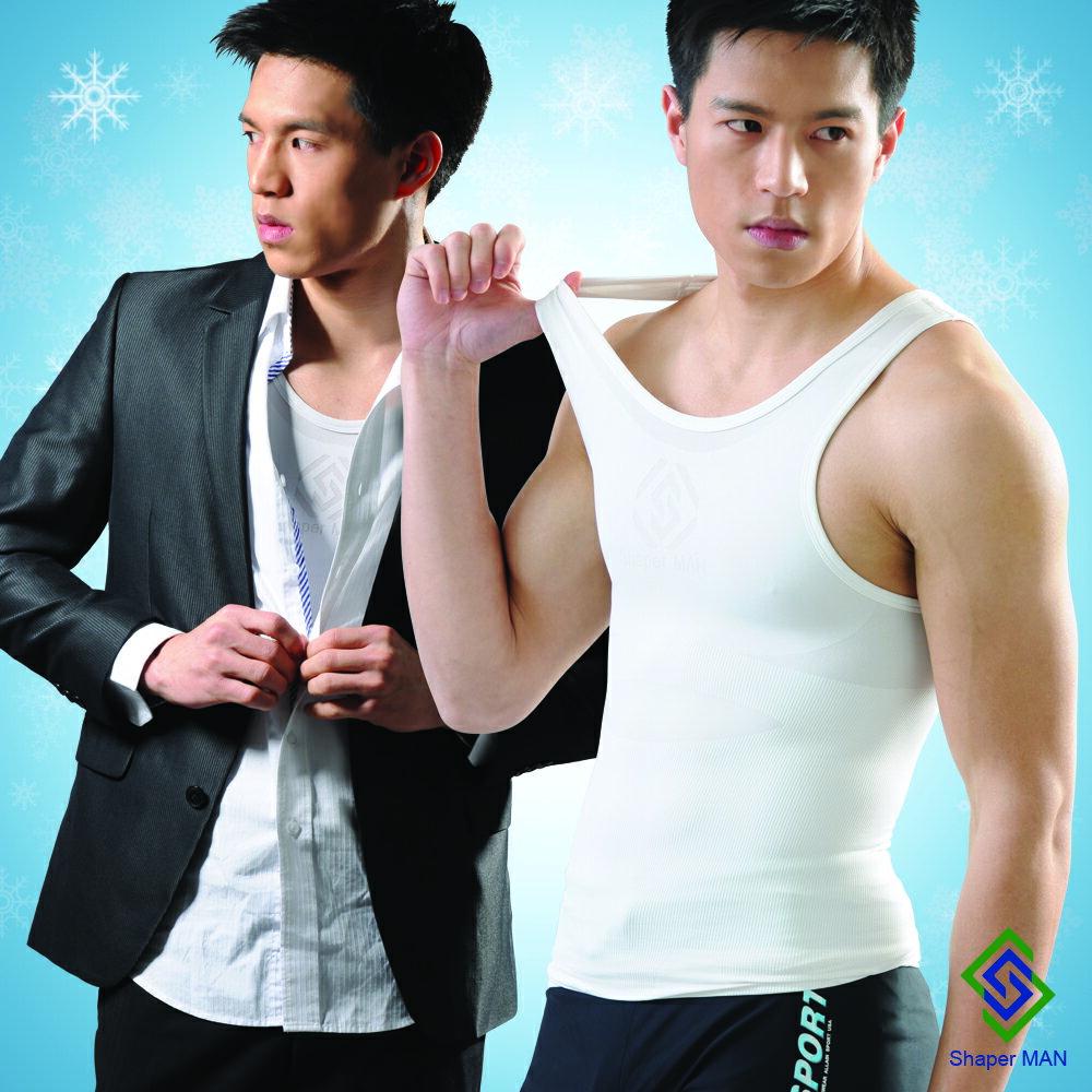 SHAPER MAN-涼感護腰西裝背心 涼感塑身衣-白