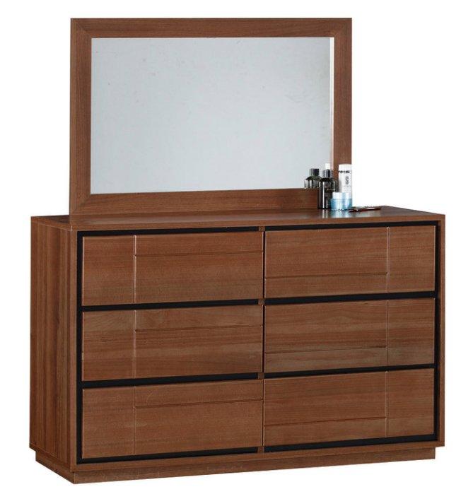 【尚品家具】JF-529-3 杰羅姆3.8尺淺胡桃斗櫃鏡台
