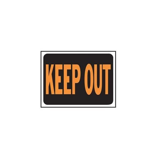 Hy-ko, 3010, KEEP OUT Sign- Black and Orange 12 Inches Long by 9 Inches Wide