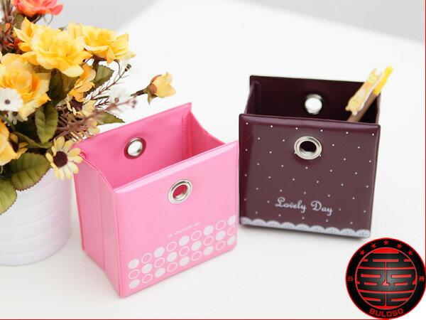 《不囉唆》2色KO-10-12簡易折疊皮革筆筒 收納盒 可愛雜物筒(不挑色/款)【A212915】