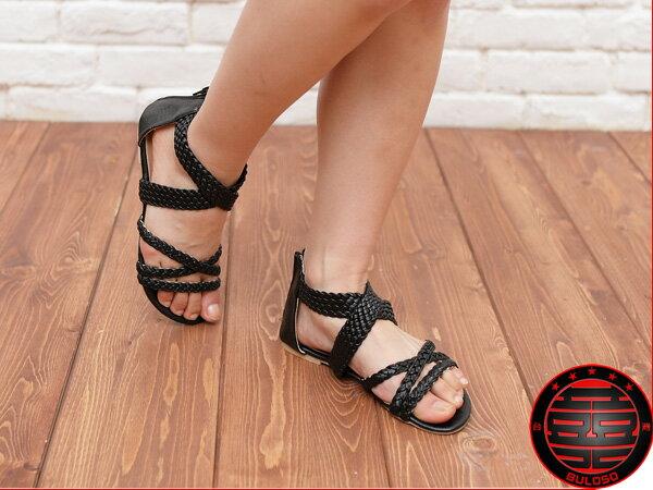 《不囉唆》韓版編織線條 羅馬平底涼鞋 羅馬鞋 拖鞋(不挑色/款)【A214247】
