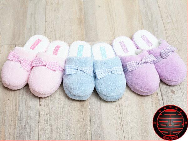 《不囉唆》【A230414】(不挑色)VIVI日系可愛保暖室內鞋 3色珊瑚絨絲帶蝴蝶結室內拖鞋