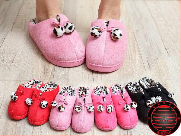 不囉嗦:129元【A230438】(不挑色) VIVI日系可愛保暖室內鞋4色半包防水球球室內拖鞋 2個尺寸