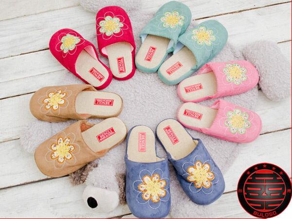 《台中不囉唆》【A231428】(不挑色)VIVI日系可愛保暖室內鞋 5色一朵花雞毛絨拖鞋 室內拖鞋 4size