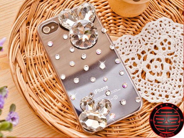~不囉唆~~Y232326~超閃 奧地利水鑽 上下大鑽兔 Iphone 4保護殼 保護蓋