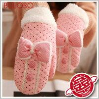 保暖配件推薦《不囉唆》【Y256698】 (不挑色)7色韓版點點立體蝴蝶結包指手套 保暖鋪棉禦寒手套