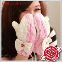 保暖配件推薦《不囉唆》【Y258197】(不挑色)7色蝴蝶結紐扣包指 保暖針織手套 造型防寒禦寒手套