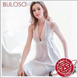 ~不囉唆~大 Annabery純白緞面兩穿禮服式睡衣 性感  低胸  睡袍  蕾絲  柔緞