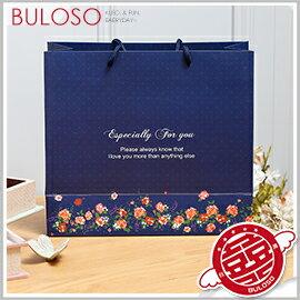 《不囉唆》深藍圓點小花蝴蝶禮品袋-大 禮品包裝/包材/婚禮小物/袋子/包裝【A421126】