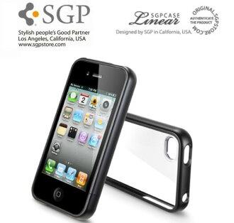 【原廠正品】SGP iPhone 4/4S (靈魂黑) Case Linear Crystal Series 水晶 三件式 邊框保護系列