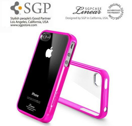 【原廠正品】SGP iPhone 4/4S (桃紅色) Case Linear Crystal Series 水晶 三件式 邊框保護系列
