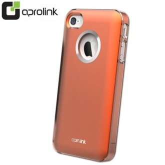 【AproLink】Apple iPHONE 4S/ 4 金屬皮革漆鋁環保護套(粉橘)