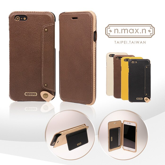 【n.max.n】Mystery Series/神秘系列 頭層牛皮 內置卡袋可站立式側翻皮套 for iPhone 6 Plus