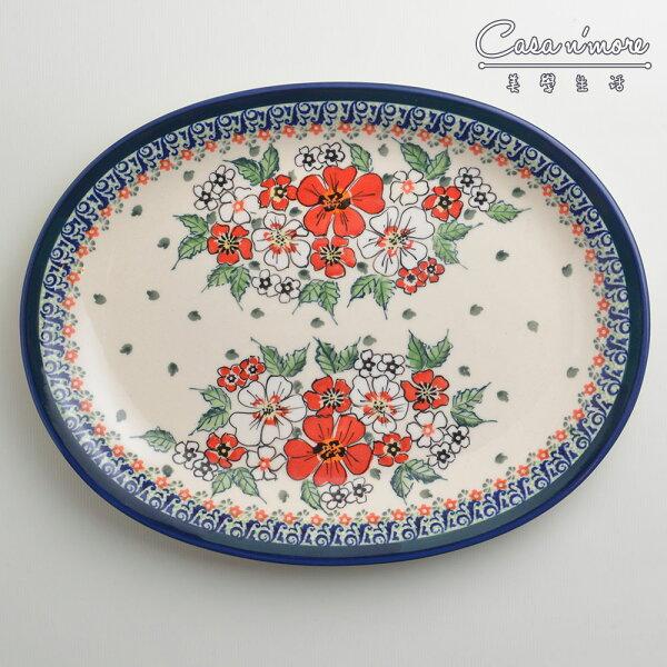 波蘭陶紅白彩卉系列橢圓形餐盤陶瓷盤菜盤水果盤沙拉盤29cm波蘭手工製