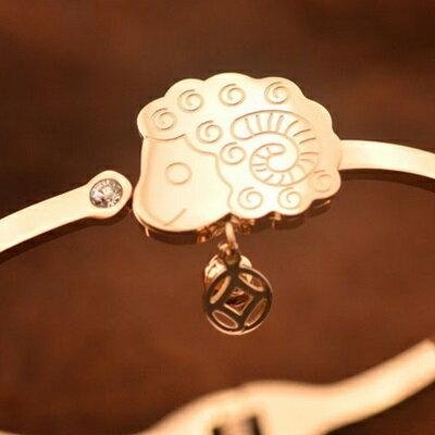 ☆玫瑰金手鍊 鑲鑽銀飾-可愛小羊羊上有錢母親節生日情人節禮物女飾品71ah21【獨家進口】【米蘭精品】