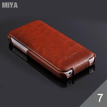 iPhone7 Plus 真皮牛皮上下翻掀蓋素色手機保護皮套殼 白玫紅天藍棕咖黑色