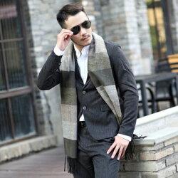 ☆圍巾羊毛圍脖-拼色橫條格紋流蘇男女披肩6色73ph12【獨家進口】【米蘭精品】