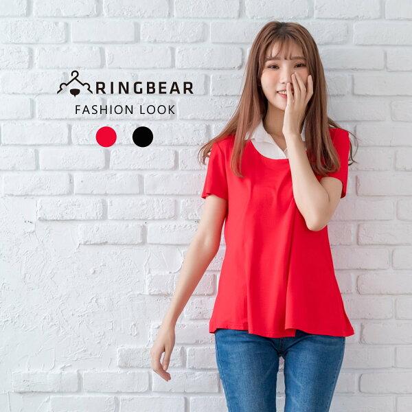 棉麻上衣--氣質優雅修飾A字版型超彈力襯衫領假兩件上衣(黑.紅M-3L)-H183眼圈熊中大尺碼