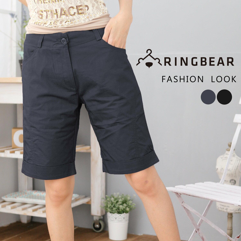 中大尺碼--完美顯瘦修飾前斜車線下襬反折素面五分褲(黑.灰M-6L)-R84眼圈熊中大尺碼 0