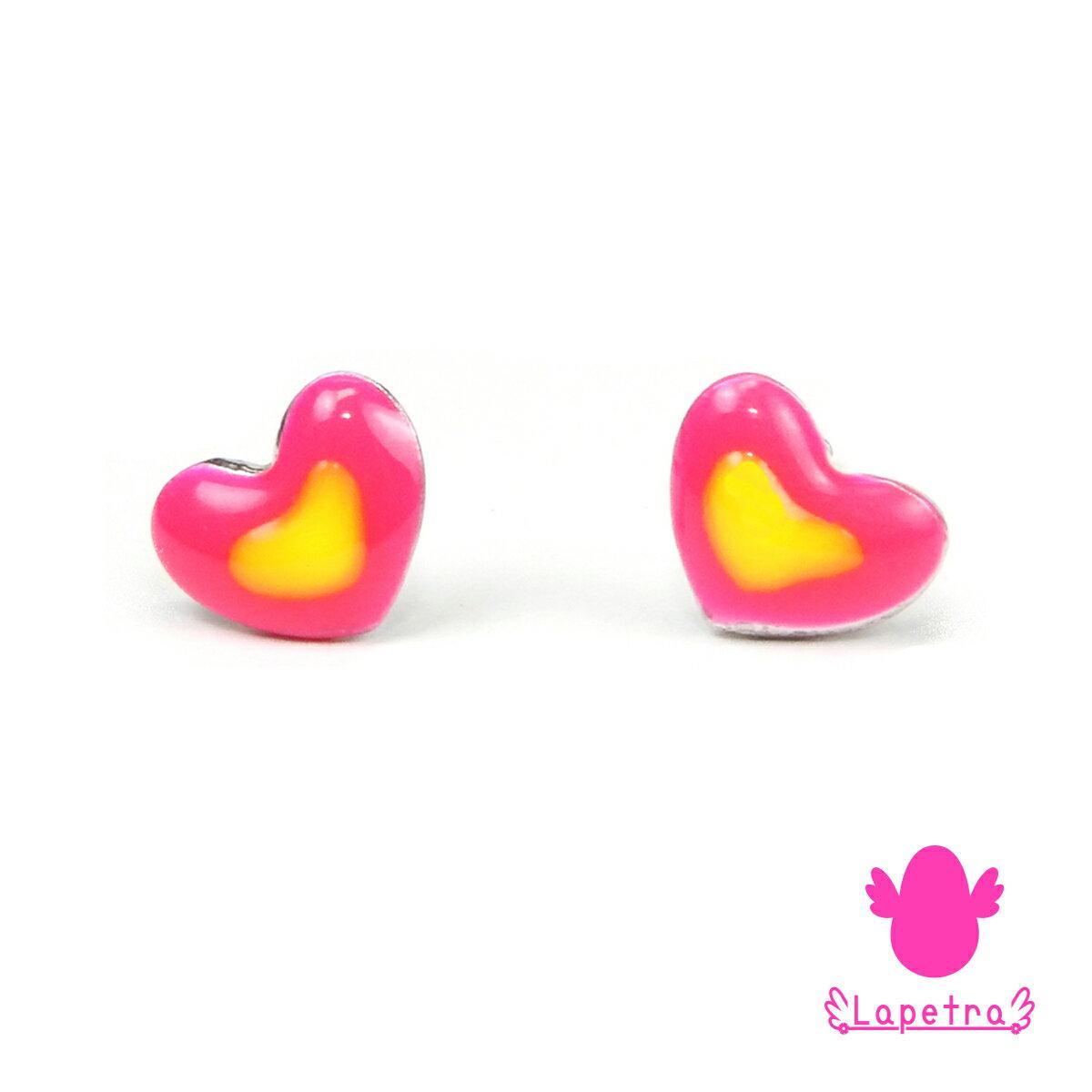 西班牙【La Petra】甜甜愛心 925 純銀 琺瑯 耳環