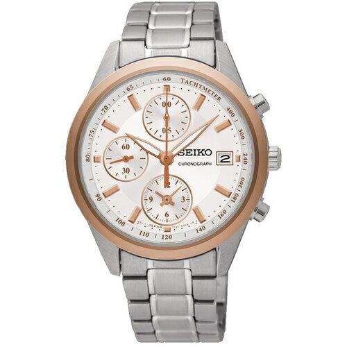 Seiko精工錶CS-A7T92-0VB0KS(SNDV56P1)浪漫時光三眼計時腕錶玫瑰金35.7mmmm