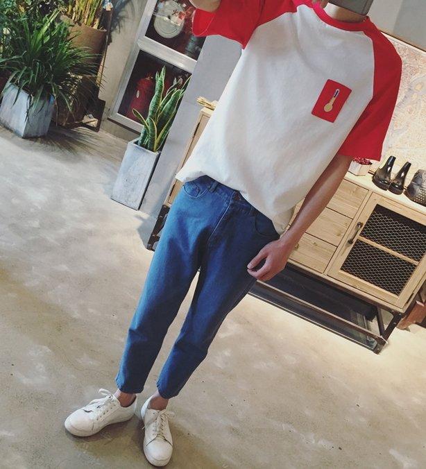 【JP.美日韓】簡約短袖 體溫計 卡通 上衣 短袖男