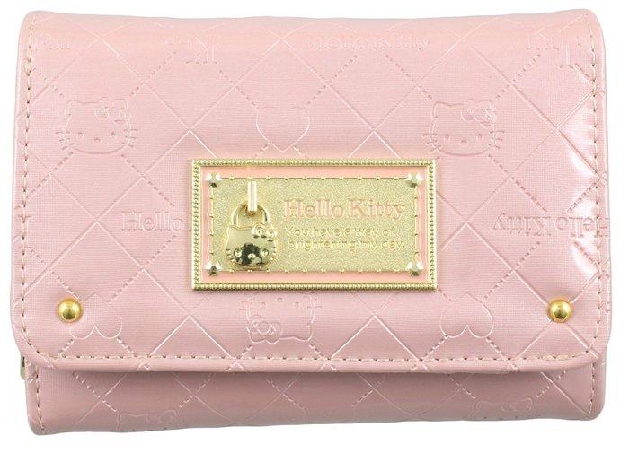 【真愛日本】14021500006 雙折短夾-KT鎖頭菱格紋粉 三麗鷗 Hello Kitty 凱蒂貓 零錢包 皮包