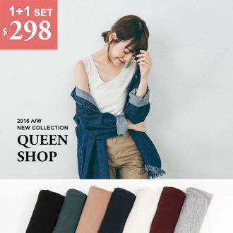 Queen Shop【01041436】拷克邊圓領無袖上衣 七色售 *現貨+預購*