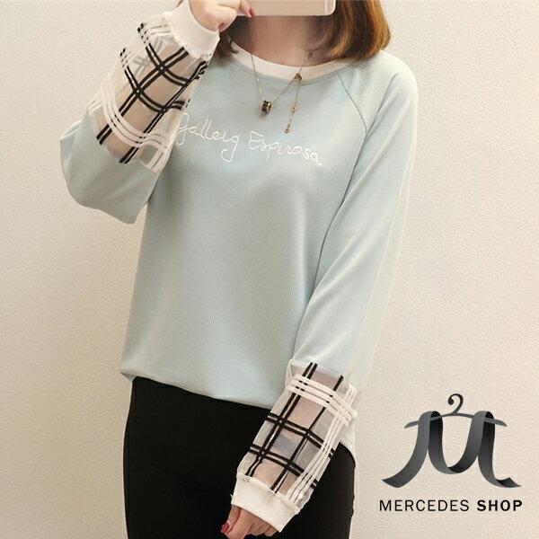 梅西蒂絲Mercedes Shop:《全店75折》韓系假兩件網紗拼接袖子刺繡字母長袖T恤(S-2XL,4色)-梅西蒂絲(現貨+預購)