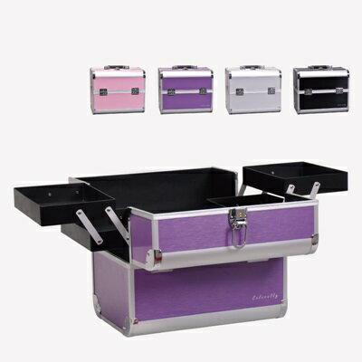 化妝箱 隨身收納盒 -多隔層鋁合金美甲美妝專業工具箱4色73d33【獨家進口】【米蘭精品】