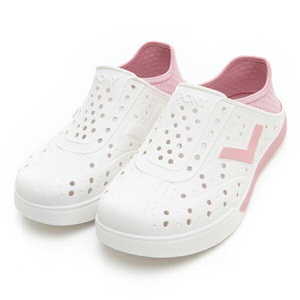 《2019新款》Shoestw【92U1SA02PK】PONY Enjoy 洞洞鞋 水鞋 海灘鞋 可踩跟 懶人拖 菱格紋 白粉紅 男女尺寸都有 0
