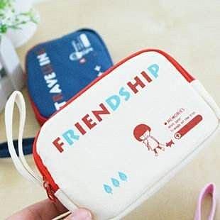 =優生活=韓國文具 zakka 快樂的貝拉 雙拉鍊帆布零錢包 手機包