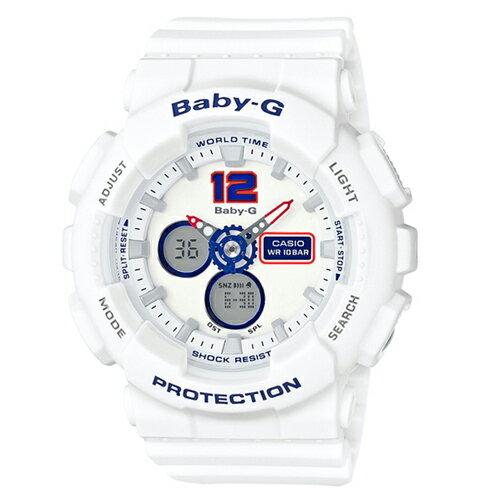 CASIO BABY~G BA~120LP~2A海軍風清爽雙顯 腕錶 白面46mm