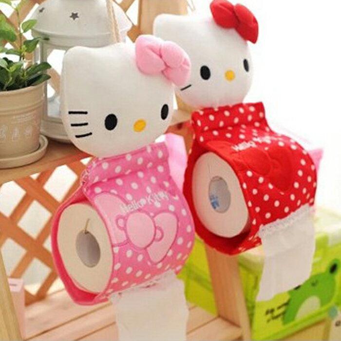 tangyizi輕鬆購【DS038】Hello Kitty蝴蝶結點點捲筒面紙套/面紙盒(預購款10天)